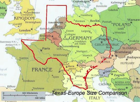 Texas Compared to Europe